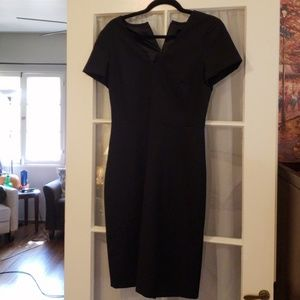 J crew black wool v neck dress